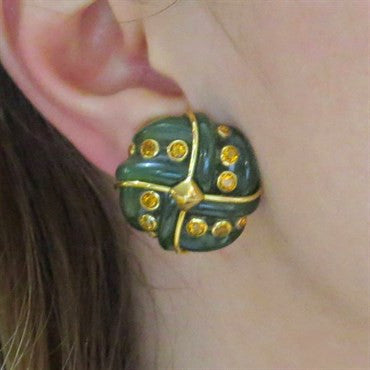 thumbnail image of Trianon Citrine Nephrite Gold Earrings
