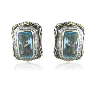 image of John Hardy Sterling 18k Gold Topaz Diamond Earrings
