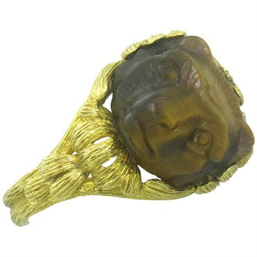 thumbnail image of 1960s Continental Carved Tiger's Eye 18K Gold Bear Ring