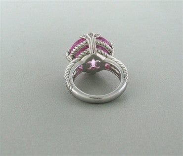 image of Judith Ripka Sterling Silver CZ Pink Gemstone Ring