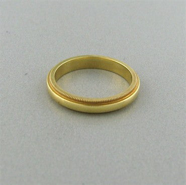 thumbnail image of Tiffany & Co Milgrain 3mm 18K Gold Wedding Band Ring