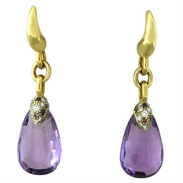 thumbnail image of New Pomellato Pin Up 18k Gold Diamond Amethyst Drop Earrings