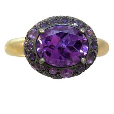 image of New Pomellato Tabou 18k Gold Burnished Silver Amethyst Ring