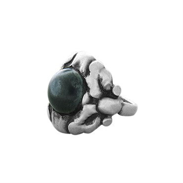 image of Georg Jensen Silver Early Mark Hematite Ring Number 11