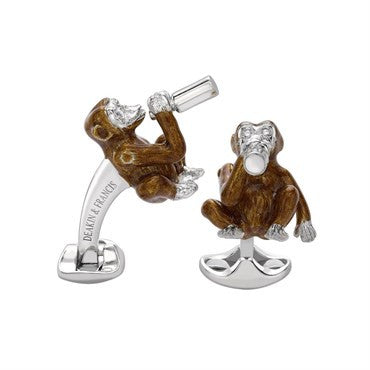 image of Deakin & Francis Sterling and Enamel Diamond Drunken Monkey Cufflinks