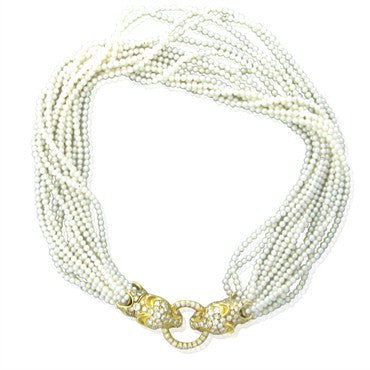 thumbnail image of Estate 18K Gold Panther 6.70ctw Diamond Pearl Multi Strand Necklace