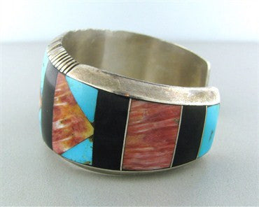 thumbnail image of Gilbert Nelson Navajo Native American Sterling Onyx Gem Cuff Bracelet