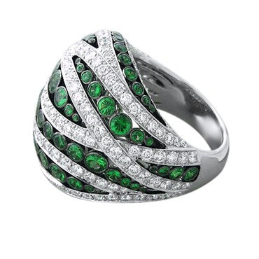 thumbnail image of Asprey 18K White Gold 3.47ctw Diamond 2.98ctw Tsavorite Ring