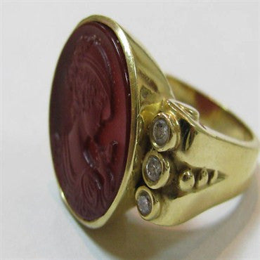 thumbnail image of Estate Seidangang 18K Gold Intaglio Diamond Ring