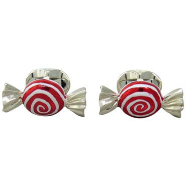 image of Deakin & Francis Sterling Sweet Round Swirl Candy Cufflinks