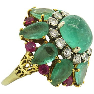 thumbnail image of 1960s Impressive Emerald Ruby Diamond 18k Gold Cocktail Ring