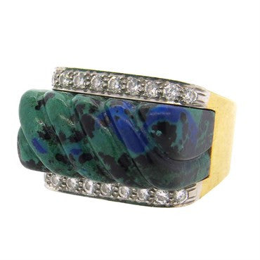 thumbnail image of David Webb Carved Azurite Diamond 18k Gold Platinum Ring