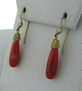 thumbnail image of Slane & Slane Fenestra 18K Yellow Gold Coral Diamond Drop Earrings