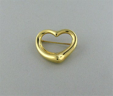 thumbnail image of Tiffany & Co Elsa Peretti 18K Gold Open Heart Brooch Pin