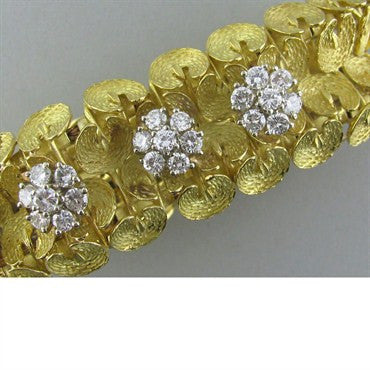 image of Estate Ebel 18k Gold 4.50ctw Diamond Watch Bracelet