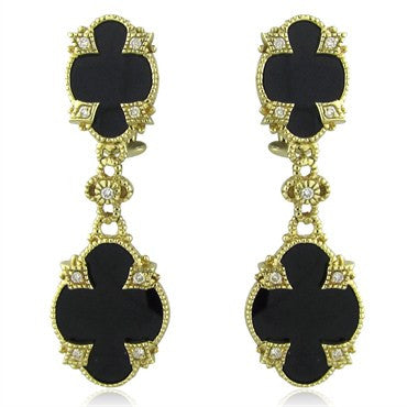 image of Judith Ripka 14K Yellow Gold Black Onyx Diamond Drop Earrings