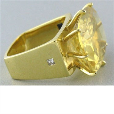 thumbnail image of H. Stern Sunrise 18k Gold Diamond Citrine Ring