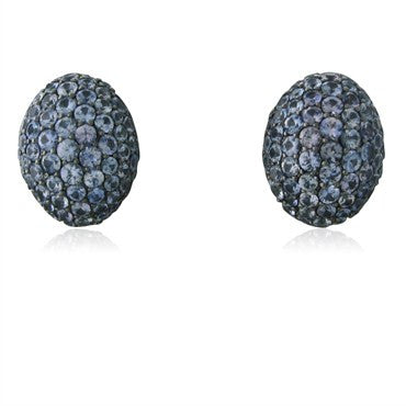 image of Modern 18K White Gold 7.50ctw Sapphire Earrings