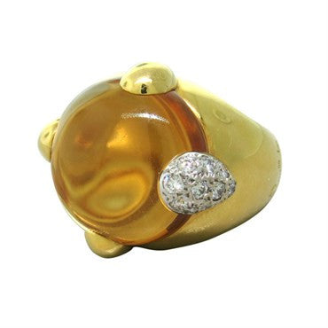 image of New Pomellato 18K Gold Quartz Diamond Ring