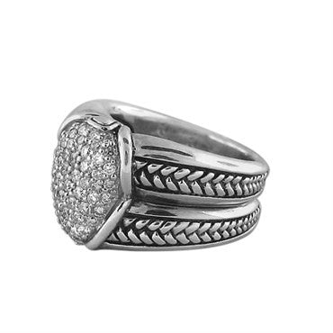 thumbnail image of New Scott Kay Sterling Silver Diamond Ring