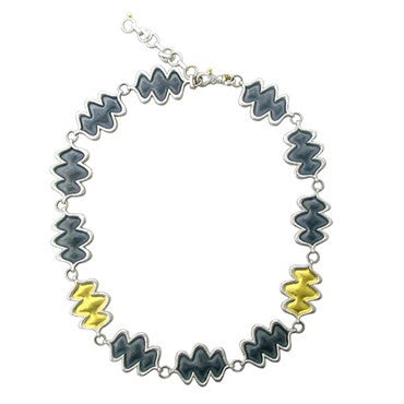 image of Gurhan Flame Gold Sterling Blackened Silver Link Necklace