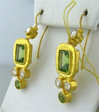 image of New Gurhan Periwinkle 24K Gold Peridot Diamond Earrings
