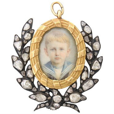 image of Antique Silver Diamond Gold Hand Painted Miniature Enhancer Pendant