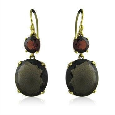 thumbnail image of Ippolita 18K Yellow Gold Garnet Smokey Quartz Drop Earrings