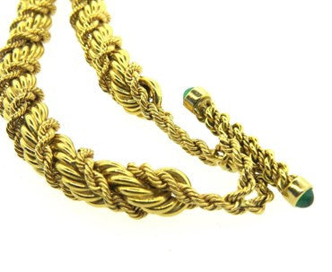 thumbnail image of Classic Tiffany & Co. Jean Schlumberger Emerald Gold Twist Rope Toggle