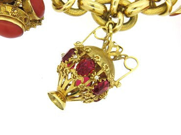 thumbnail image of Antique Multi Gem Set 18K Gold Charm Bracelet