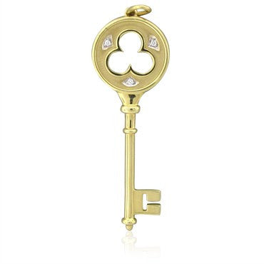 image of Tiffany & Co 18K Gold Diamond Clover Key Pendant