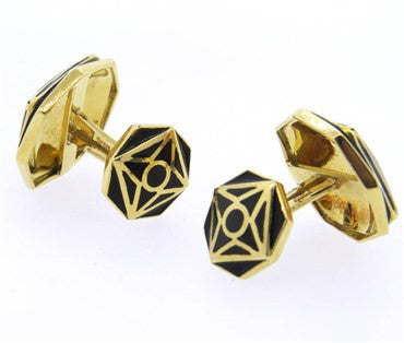 thumbnail image of David Webb Black Enamel Gold Cufflinks