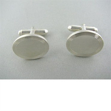 thumbnail image of Tiffany & Co Sterling Engine Turned Oval Cufflinks