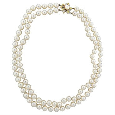 thumbnail image of Tiffany & Co. Classics Pearl Diamond Gold Platinum Necklace