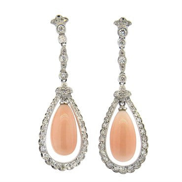 thumbnail image of 18k Gold 1.00ctw Diamond Coral Teardrop Earrings