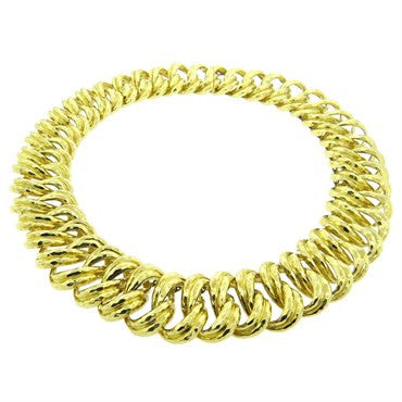 thumbnail image of Henry Dunay Massive 18k Gold Hammered Link Necklace 244 g