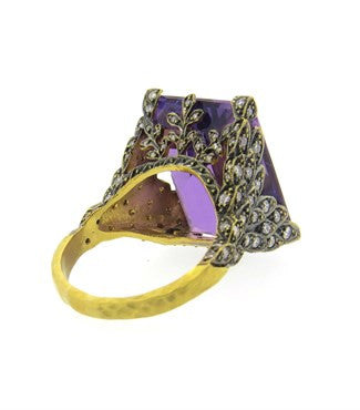 thumbnail image of Cathy Waterman Peacock Amethyst Diamond Gold Ring