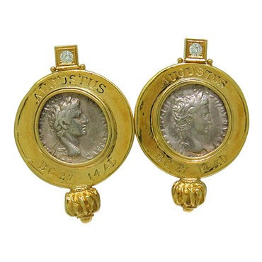 thumbnail image of Elizabeth Gage Ancient Coin Diamond Gold Earrings