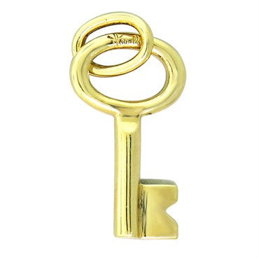 image of New Pomellato 18k Gold Small Key Pendant Charm