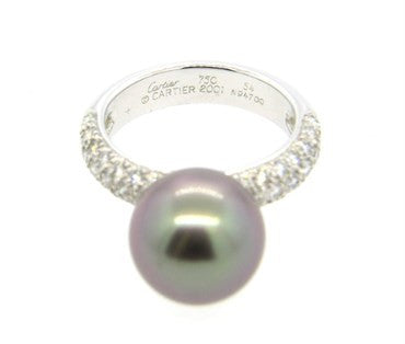 image of Cartier South Sea Tahitian Pearl Diamond Gold Ring