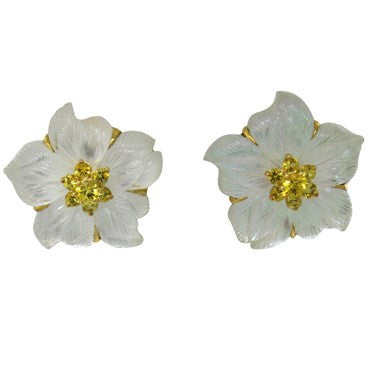 image of Seaman Schepps Clematis Rock Crystal Sapphire 18K Gold Earrings