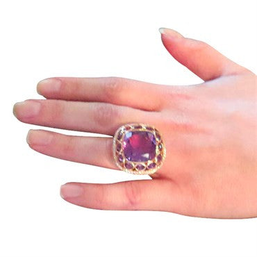image of 18k Gold Pink Sapphire Amethyst Diamond Cocktail Ring
