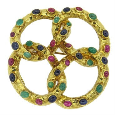 image of French Large Sapphire Emerald Ruby Gold Brooch Pendant