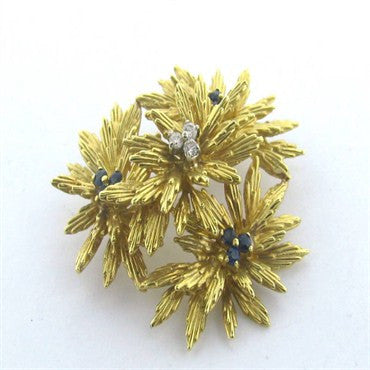 thumbnail image of Tiffany & Co 18k Gold Sapphire Diamond Brooch Pin