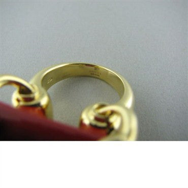 thumbnail image of Modern Gucci 18k Gold Coral Horsebit Cocktail Ring