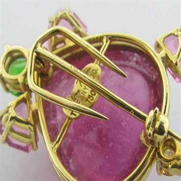thumbnail image of Tiffany & Co Gold Tourmaline Tsavorite Turtle Brooch