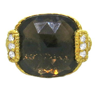 image of Judith Ripka 18K Yellow Gold Smokey Quartz Diamond Ring