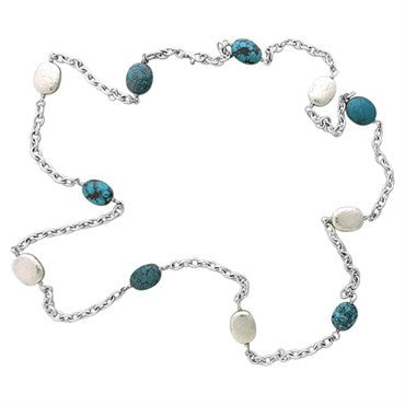 image of Gurhan Sterling Silver Turquoise Pebble Long Necklace