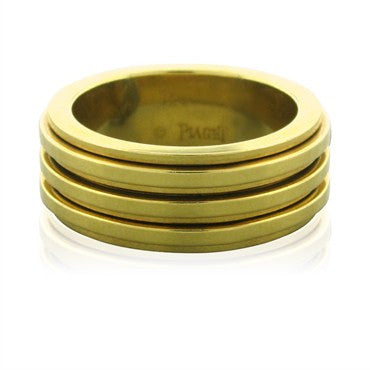 image of New Piaget Three Rotating Section 18K Yellow Gold Band Ring
