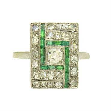 image of 1920s Art Deco European Diamond Emerald Gold Ring